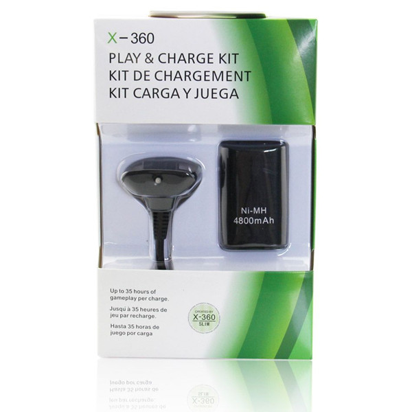 High Quality Rechargeable Battery Pack with USB Charger Cable for Xbox-360 Slim Wireless gamepad